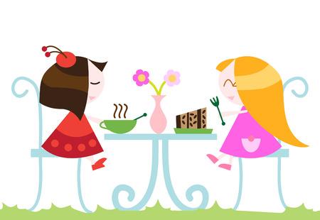 pareja comiendo: niñas comer la cena