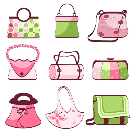 woman's: set womans bags vector