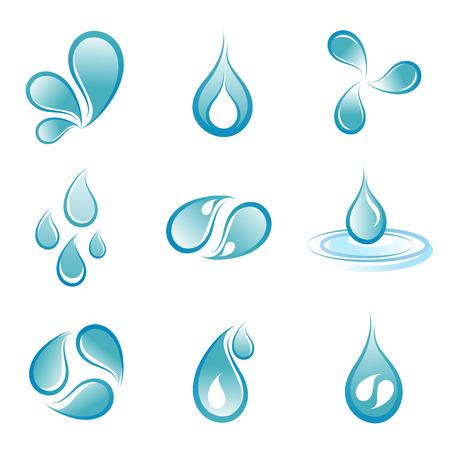 flowing water: conjunto de s�mbolos de agua  Vectores