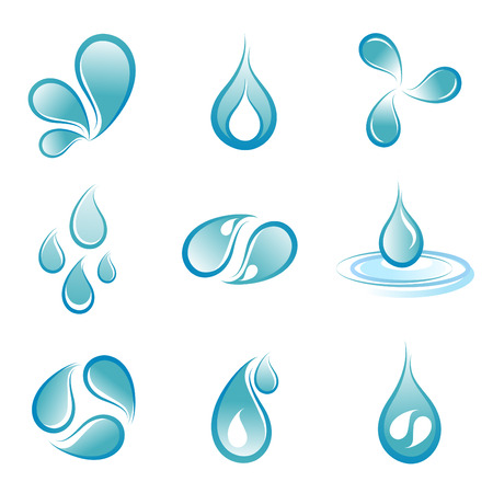 gocce di colore: set simbolo di acqua