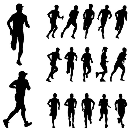 physical fitness: running people set