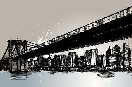 bridge hand: bridge and city hand drawing  Illustration