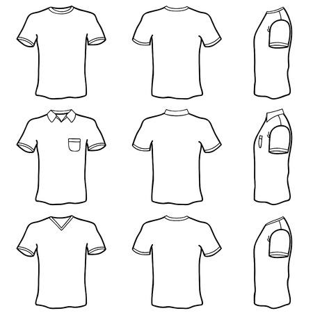 in shirt: conjunto de camisa de t en blanco Vectores
