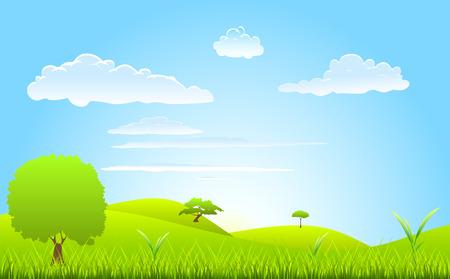 scène de printemps de paysage  Vecteurs