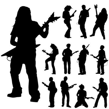 guitar player: guitar player set  Illustration