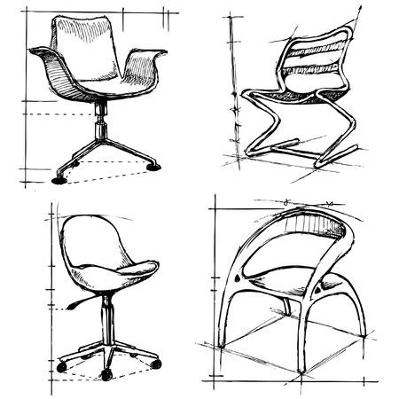 stoelen tekeningen Vector Illustratie