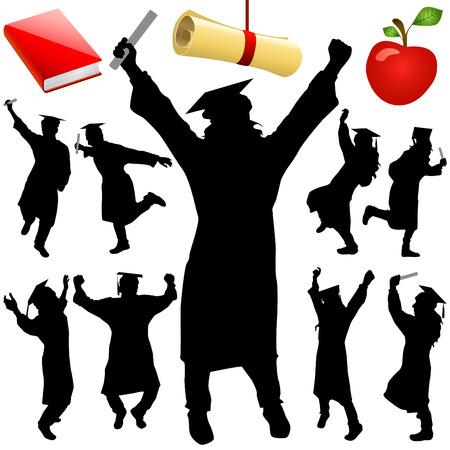 conjunto de graduación  Ilustración de vector