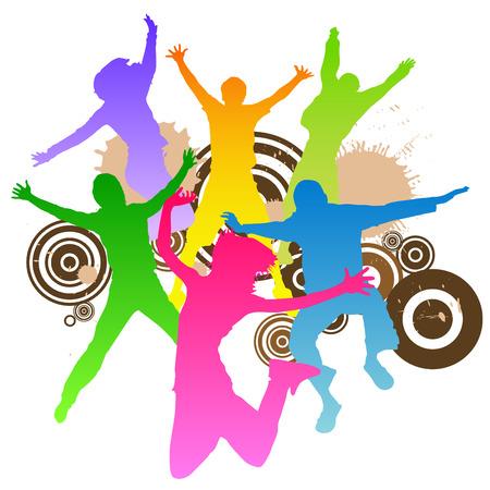 chicas bailando: saltar dise�o retro de los pueblos