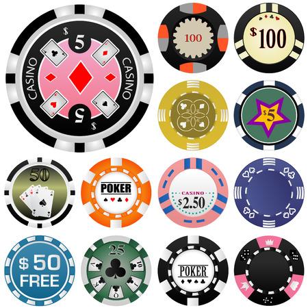 gambling chip: juego de fichas de conjunto Vectores