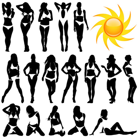 black breast: set of bikini woman  Illustration