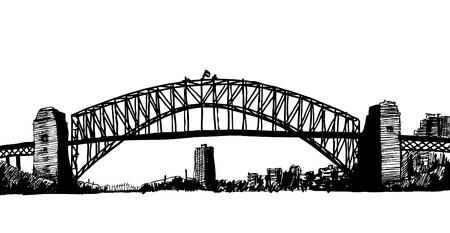 sydney skyline: sydney bridge illustration