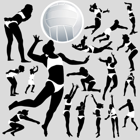 face silhouette: beach volley and volleyball set  Illustration