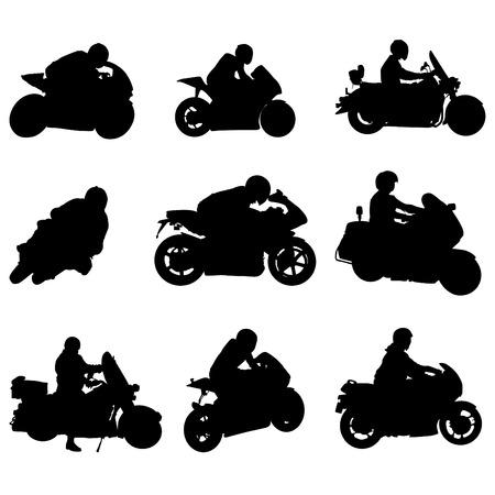 silueta ciclista: conjunto de motocicleta