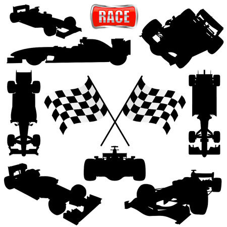 formula one: formula cars, flag and icon  Illustration