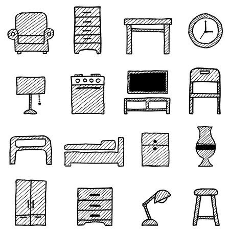 set de television: conjunto de iconos de muebles Vectores
