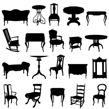 antique furnitures set  Vector
