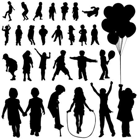 kind silhouet: kinderen set