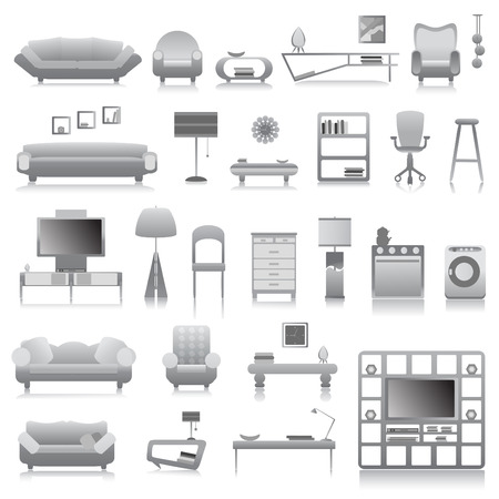 retro furniture: big set of modern furniture  Illustration