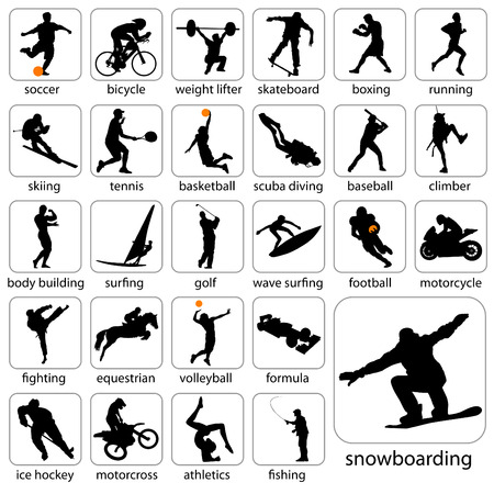 ice fishing: siluetas de deporte