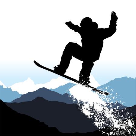 narciarz: Jazda na snowboardzie  Ilustracja