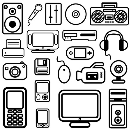 printer drawing: technology icons vector