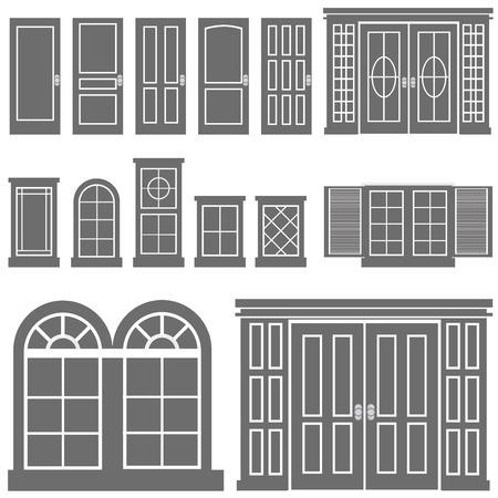 puertas de cristal: vector de ventana y puerta
