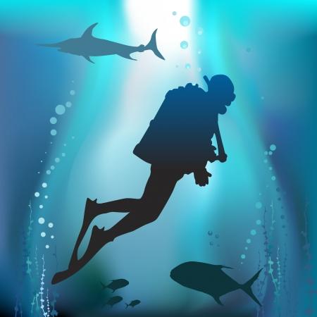 deep sea diver: scuba diving vector  Illustration