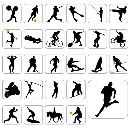 ice fishing: sport silhouettes  Illustration