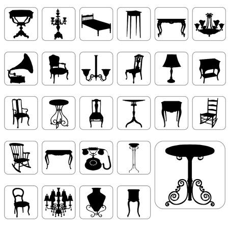 muebles antiguos: antiguos objetos vectoriales