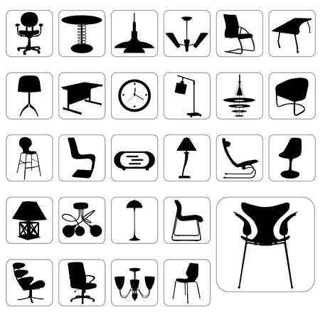 lamp silhouette: furniture icon set Illustration