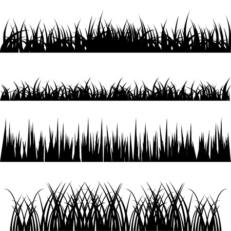 black and white farm: grass vector set