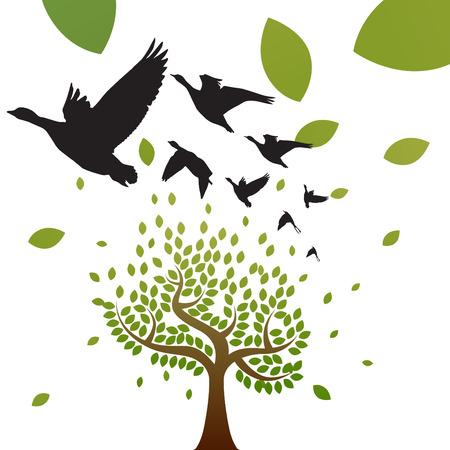 birds and tree vector  Vector