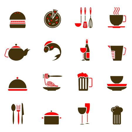 iconos de alimentos  Ilustración de vector
