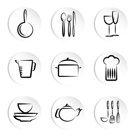 kitchen object icons Stock Vector - 9060015