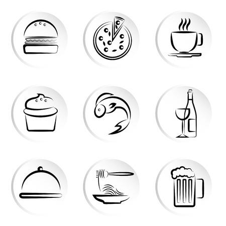 fastfood: foods icons  Illustration