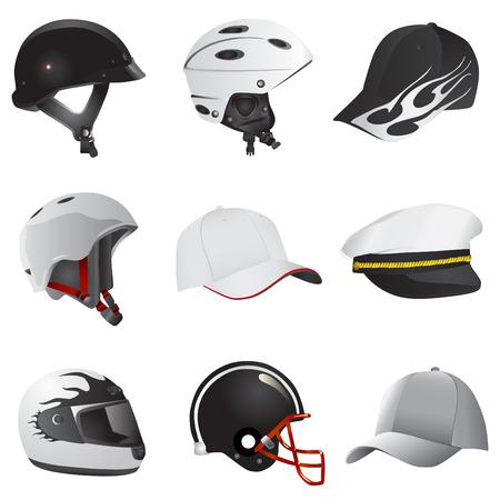 hat and helmet  Vector