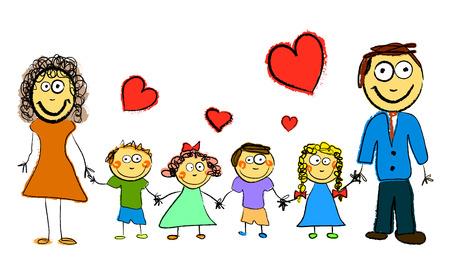 teacher student: cartoon family  Illustration