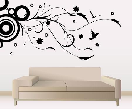 etiquetas redondas: decoraci�n de paredes  Vectores