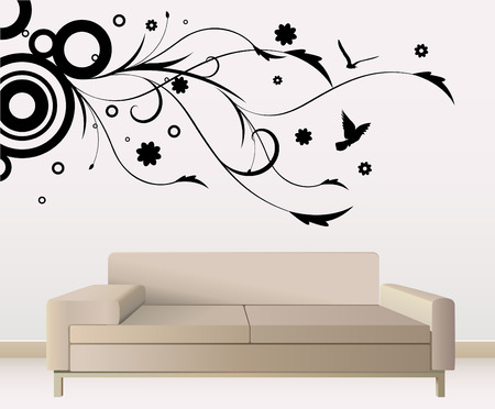 modern living room: wall decoration  Illustration