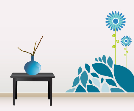 living room design: wall decoration  Illustration