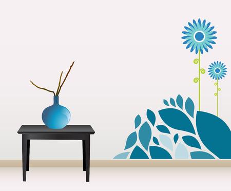 vintage living room: wall decoration  Illustration