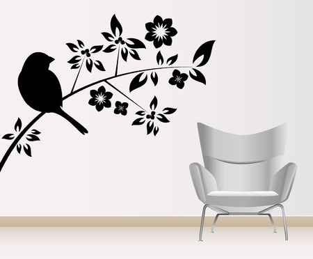 living room wall: wall decoration  Illustration