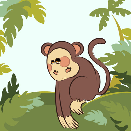 monkey in the  jungle Stock Vector - 9060180