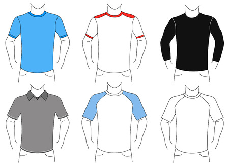 unisex: blank t shirt set (man)  Illustration