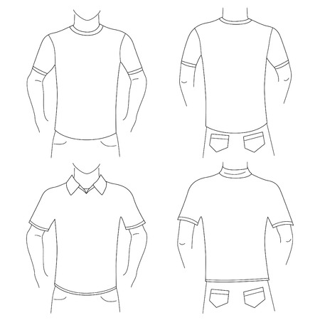 blank t shirt: blank t shirt set (front and back view)  Illustration