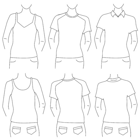 blank t shirt set (front and back view)  Vector