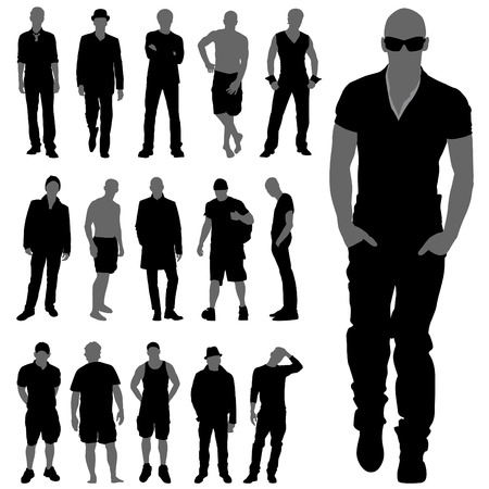 fashion man silhouettes  Vector