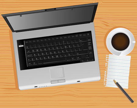 laptop and desk Vector