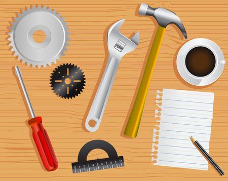wooden work: strumenti di lavoro e scrivania