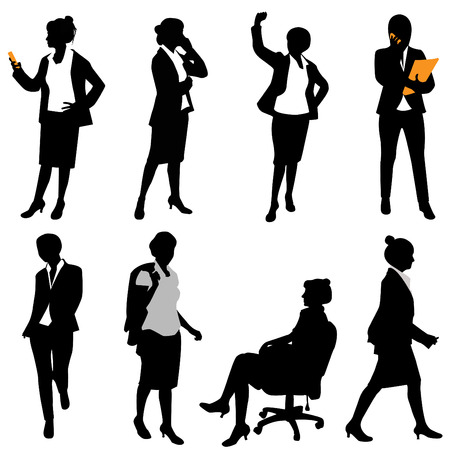 black secretary: business woman (different positions)  Illustration